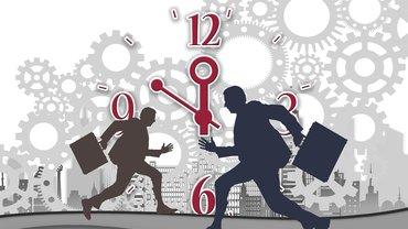 Uhren und gehetzte Menschen