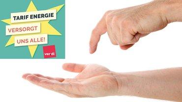 Verhandlung Hand Forderung TG Energie Logo Tarif Energie vs. 7 versorgt uns alle