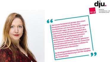 dju-Bundesgeschäftsführerin Monique Hofmann äußert sich zur aktuellen Rangliste der Pressefreiheit von RSF