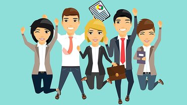 Menschen Gruppe Team Freude Jubel Illustration