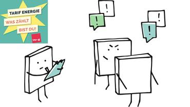 Illustration Comic Umfrage Befragung Forderungsfindung Energiewirtschaft