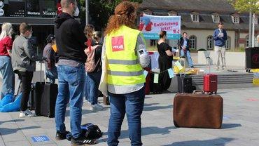 Aktion gegen Befristungen am 1. September 2021 in Darmstadt